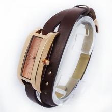 Haute Qualité Date Plus Dames Longue Bracelet en Cuir Montre-Bracelet (HAL-1233)