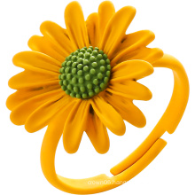Silver Color Flower Ring for Girl