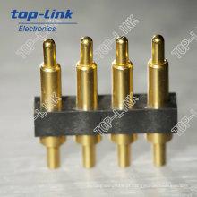 4 Pin Tipo Vertical Orifício de Passagem Pogo Pin Connector