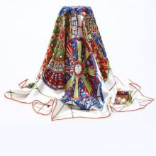 La manera 90x90cm estampilla caliente posee la bufanda de seda del diseño
