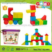 EZ1093 30pcs Colorful Children Game Pequenos blocos de madeira com Colorbox