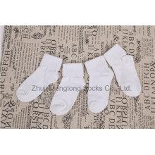 Conception de base confortable Double manchette réglable bébé coton chaussettes nouveau-né