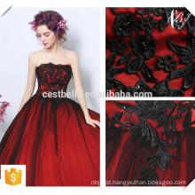 2016 Elegante Design Elegante Off Shoulder Wine Vermelho Seda Luxo Vestido de Cerimônia de Vestido de Noite
