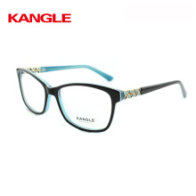 Acetate eye glasses frame with beautiful metal decoration