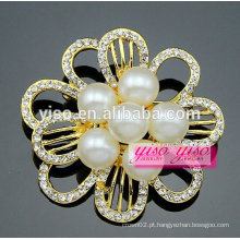 Pérola moda flor quente venda barato broche de cristal