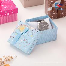 barato cajas de presentación impresas personalizadas de la joyería de la caja de regalo de la pulsera del pendiente al por mayor