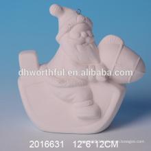 High quality DIY bisque santa,unpainted christmas ornament