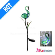 Modern Solar LED Light Glass Flamingo Garden Stakes
