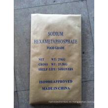 Grado alimenticio blanco polvo roca sodio hexametafosfato-SHMP