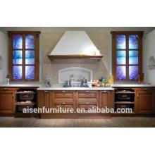 Gabinete de cocina de madera maciza de combinación clásica y moderna