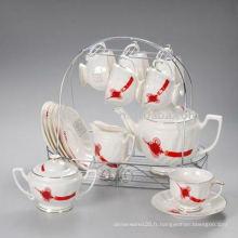 Service à thé en porcelaine avec support en métal JXSK001