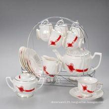 Porcelain tea set with metal rack JXSK001