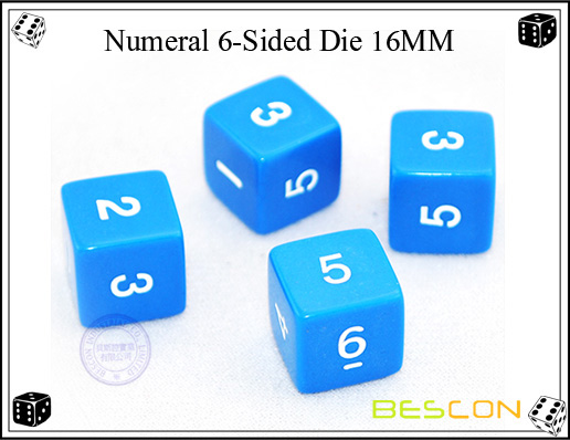Numeral 6-Sided Die 16MM