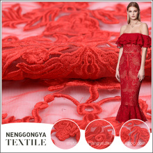 Custom wholesale fashion embroidery red wedding dress lace