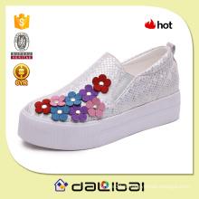 Mais recente design lantejoulas lona 5 centímetros plataforma doce flor flor sapatos