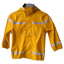 Yellow PU Reflective Raincoat for Children/Baby
