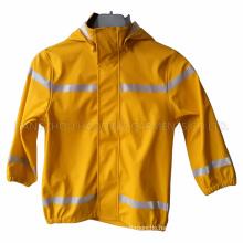 Yellow PU Reflective Raincoat for Children/Baby
