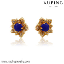 91604-Xuping Most popular crystal bead flower earrings with clear