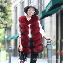 Excelente proveedor rápido mujer piel real zorro chaleco 2017 moda