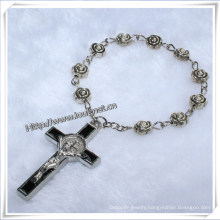 Religious Rose Metal Beads Finger Rosary with Crucifix (IO-CE014)