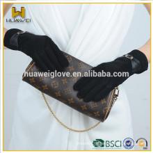 Schwarz gefärbte Lederhandschuhe, Girl's niedliche Wildlederhandschuhe mit Leder Bowknot