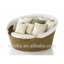 cheap garden/indoor use sofa bed +rattan round sofa bed with canopy