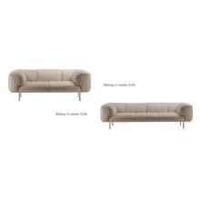 Stainless Steel Legs Polyester Upholstered Loveseat Sofa