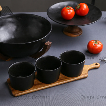 CooksEssentials鋳鉄9個調理器具セット-アカシアトレイ付き3カップのセット