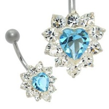 Crystal Jewelled Blue Heart Belly Button Bar