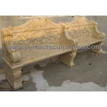 Banco de jardín de mármol de piedra antiguo para el ornamento del jardín (QTC070)