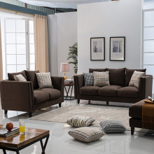 Sofa Solid Wood Brown Upholstery Sofa Set