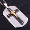 Necklaces Pendant Rectangle Stainless Steel Tag with Plated Cross (IO-st255)