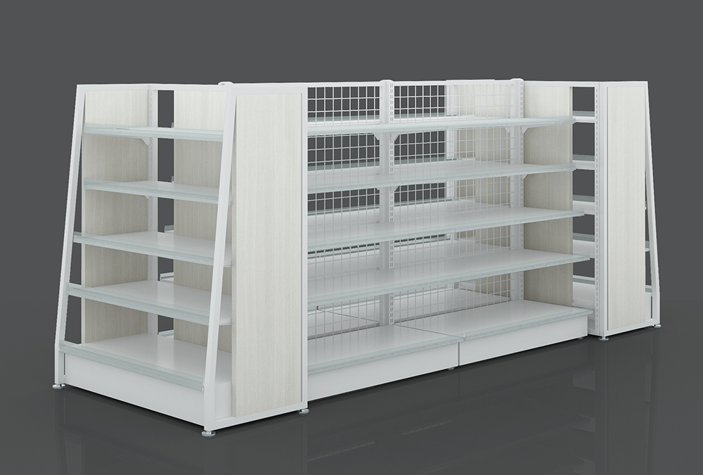 Steel And Wooden Shelf For Supermarket