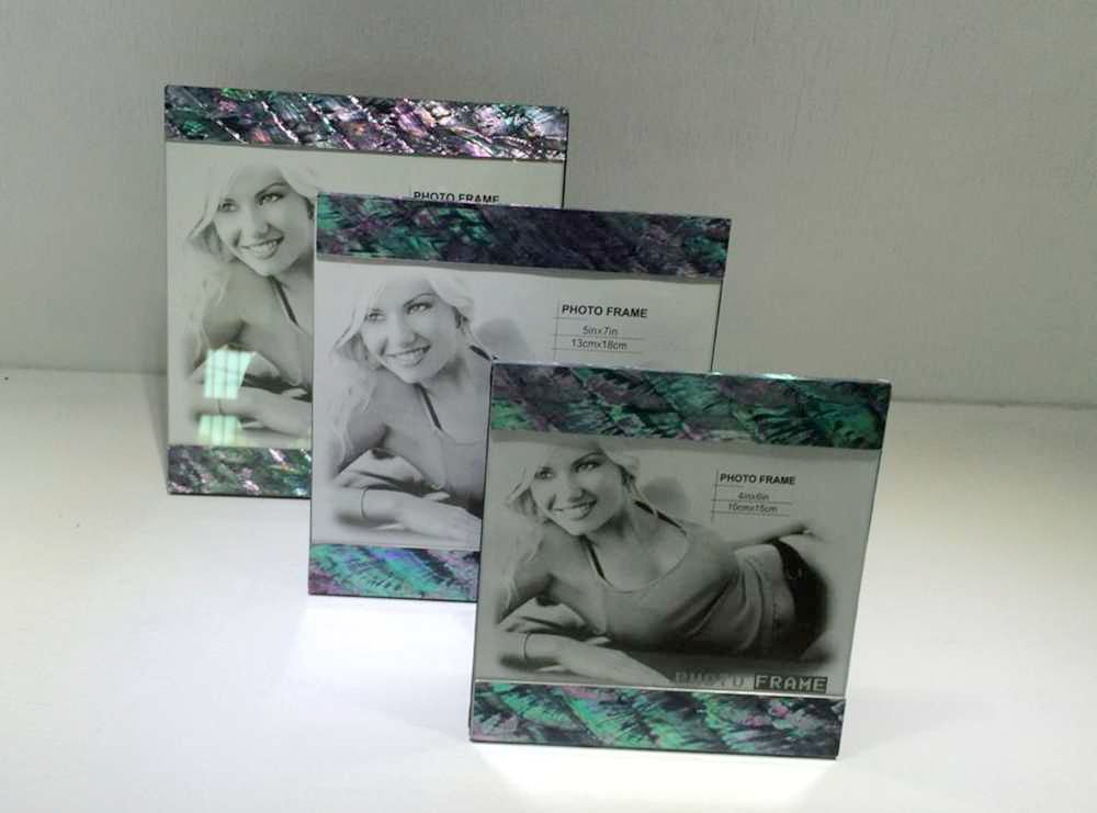 green paua shell photo frame