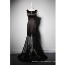 LSQ052 0-neck tank natural waist with bead appliques lace tulle black long mermaid dress