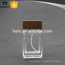 Parfum de bouteille en verre 100ml avec bouchon en bois
