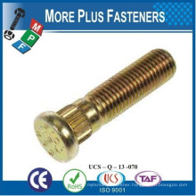 Made in Taiwan Metric Stainless Steel Carbon Steel Wheel Bolt With Nut Passivated Yellow Zinc Plated
