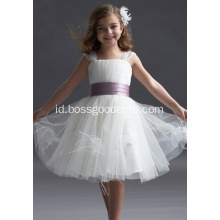 Ball Gown Straps Lebar Selutut Taffeta Yarn Flower Girl Bertingkat