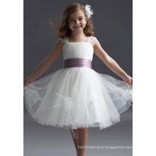 Ball Gown Wide Straps Knee-length Taffeta Yarn Tiered Flower Girl