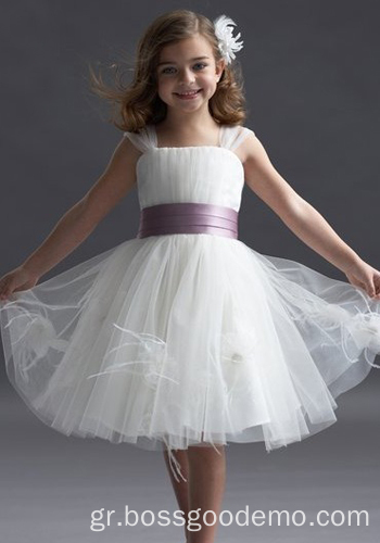 Ball Gown Wide Straps Γόνατο Taffeta Yarn Tiered Flower Girl