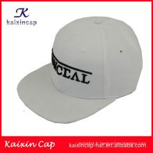 Logo 3D de haute qualité et promotionnel en police à bords plats 5 panneaux camper chapeaux avec bracelet en cuir