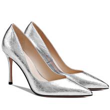 2019 High Heel Women's Pumps Silver Leather x19-c197 Ladies Women Wedding Bride Shoes Heels for women