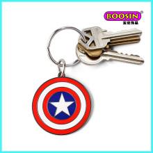 Porte-clés rond pas cher, porte-clés en métal à breloque en émail personnalisé
