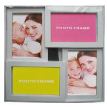 4 Öffnungen Kunststoff Collage-Fotorahmen weiß
