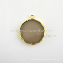 Smoky Quartz Slice Gemstone Bezel Charm, Wholesale Gold Plated Sterling Silver Bezel Connector and Charms