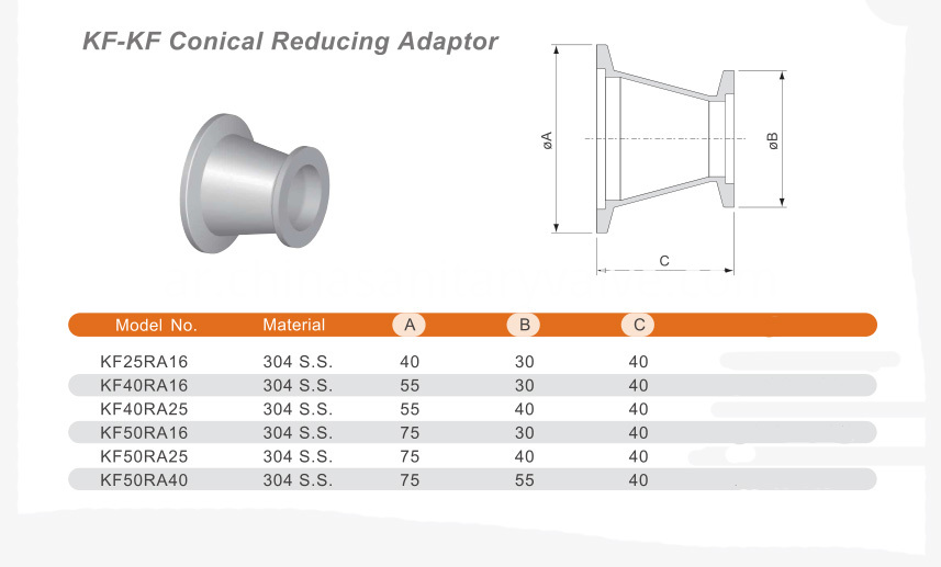 KF Conical reducing adapter