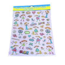 Pequena menina linda etiqueta diário decoração adesivos transparente pvc adesivos decalque