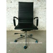 Chaise de bureau en cuir Balck à haute rentabilité avec roues