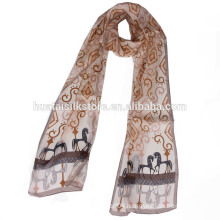 Chinese Wholesale Print long Silk Chiffon Long Scarf