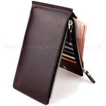 OEM Double Zipper PU Thin Purse Wallet for Promotional Gift